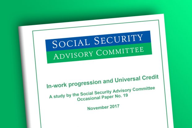 Photograph of the cover of a report by the Social Security Advisory Committee.  The report is called In-work progression and Universal Credit