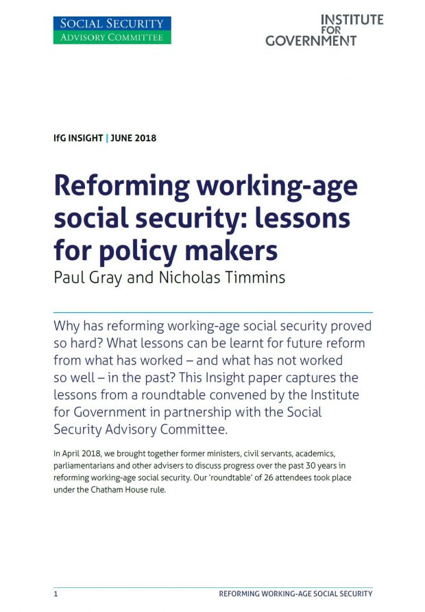 The cover of a reprort published by the Social Security Advisory Committee and Institute for Government. The report is called Reforming working-age social security: lesons for policy makers