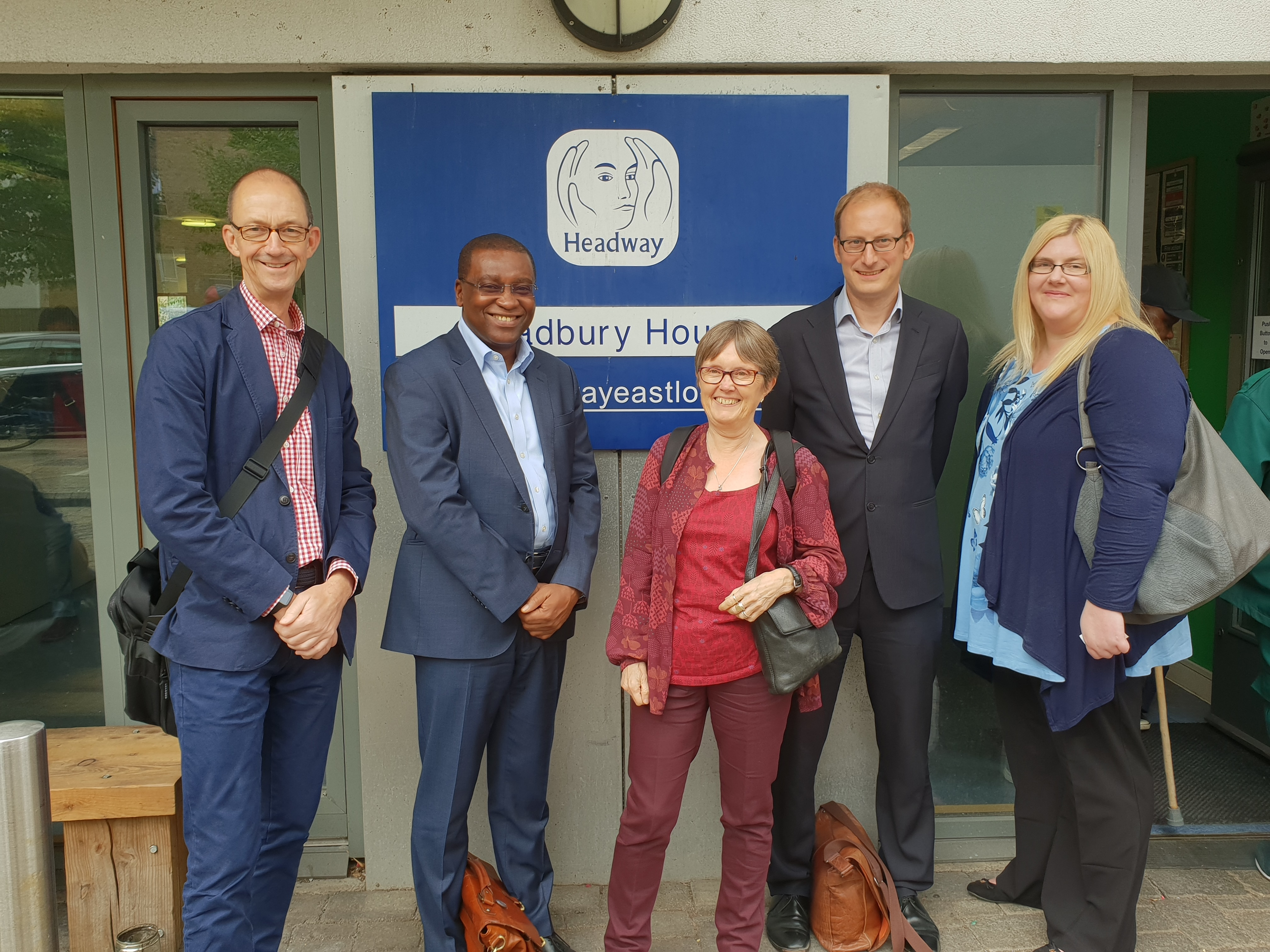 Social Security Advisory Committee members Phil Jones, Seyi Obakin, Liz Sayce, Carl Emmerson and Victoria Todd during a visit to Headway.